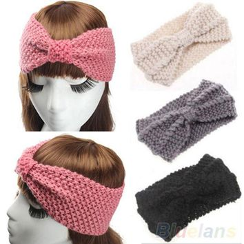 CREYU3C Women Crochet Bow Turban Knitted Head  Hair Band Winter Ear Warmer Headband 2MCW 2VPH