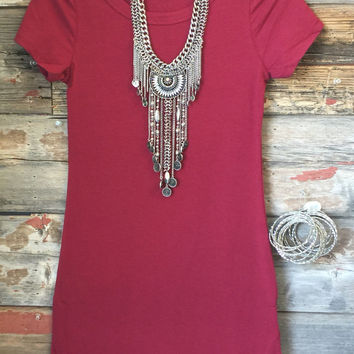 Fun in the Sun Tunic Dress: Burgundy
