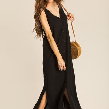 Maddie Black Button Maxi Dress