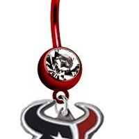 Houston Texans NFL PREMIUM Red Titanium Anodized Sexy Belly Navel Ring