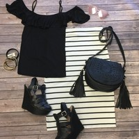Shake Things Up Cold Shoulder Top: Black