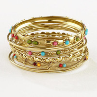 Gold Indian Beaded Bangles, Set of 9 | World Market