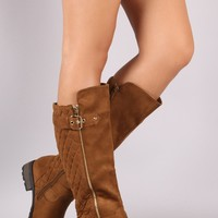 Quilted Vegan Suede  Riding Boots