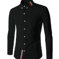Shirt Collar Buttons Design Stripes Long Sleeve Shirt