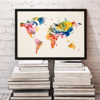 Watercolor Print - Poster - Illustration - World map - Wall Art - Colorful