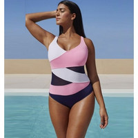 New Style Plus Size Women Patchwork Swimwear One Piece Female Swimming Suits Bathing Suit Swim Wear Swimsuits Hot 2016 WZC2271 [9222505028]