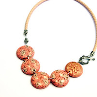 Pink statement necklace, Light pink necklace, pink and gold necklace, light pink polymer clay jewelry