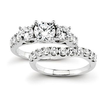 Certified 2.0 Ct. Three-Stone Diamond Bridal Engagement Ring Set in 14K White Gold