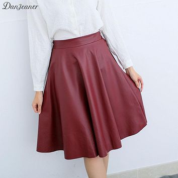 Danjeaner Women Winter Vintage High Waist PU Leather Skirts Female Casual Knee-Length Elastic Waist Midi Skirts