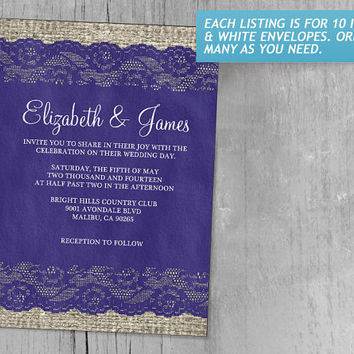 Royal Blue Rustic Lace Wedding Invitations | Invites | Invitation Cards