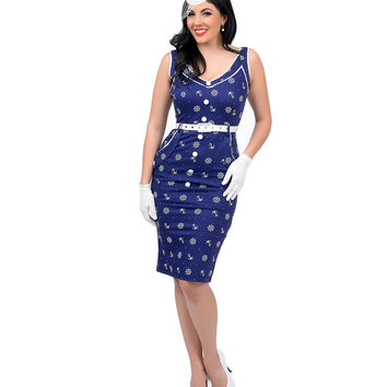 Voodoo Vixen 1950s Style Navy Blue & White Anchor Print Nautical Gwyneth Wiggle Dress