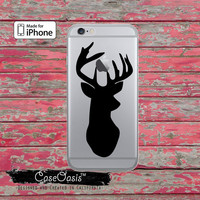Black Deer Head Antlers Hunting Animal Clear Rubber Phone Case For iPhone 6, iPhone 6 Plus, iPhone 5s, and iPhone 5c Transparent Clear Case