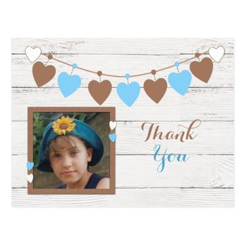 Wood effect Thank you brown and blue bunting photo Postcard