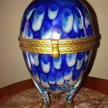 Lg Antique French Drip Cobalt Enamel EGG BOX ~ Bronze Mounts ~ Dresser Trinket Powder Jewelry ~ Peacock Feather ~ Exceptional