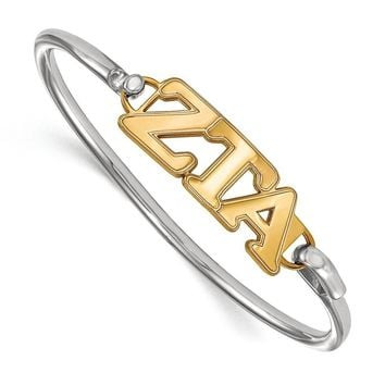 14K Plated Silver Zeta Tau Alpha Small Clasp Bangle - 6 in.