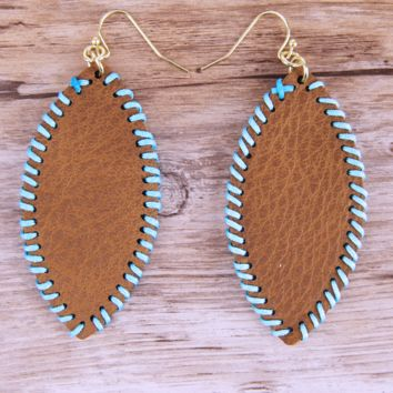 Leather Oval Stitched Earrings