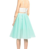 Mint Multi Tulle Midi Skirt