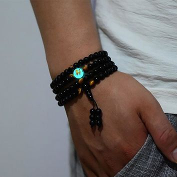 BOEYCJR Dragon Black Buddha Beads Bangles & Bracelets Handmade Jewelry Ethnic Glowing in the Dark Bracelet for Women or Men