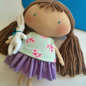 Rag doll Bunny plush Doll with long hair Handmade dolls Tilda doll Girl toys Gift for girls Cloth doll Daughter gift Fabric dolls Toys Games