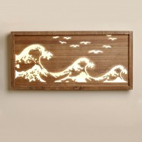 """12"""" x 24.5"""" Great Wave LED Wall Plaque"""