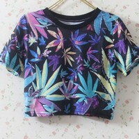 Vintage Sexy Casual leaves Top