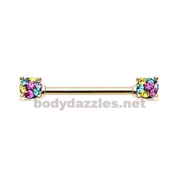 Pair Of Golden Multi Color Sprinkle Dot Multi Gem Prong Set Nipple Barbell Ring 14ga