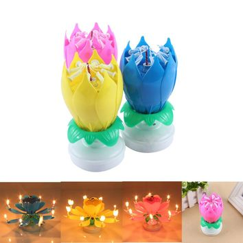 Electric Led Birthday Candle For Cake Musical Lotus Flower Art Candles Rotating Lights Lamp Happy Birthday Party Decoration