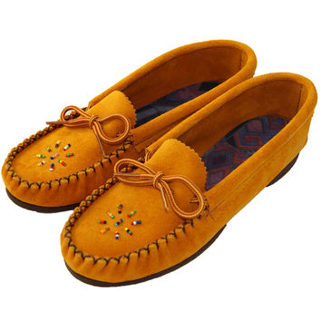 Women's Rubber Sole Suede Leather Moccasins - Indian Tan