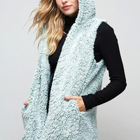 Fluffy Cloud Sherpa Vest - Sage