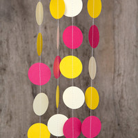 Paper garland bunting, wedding garland decor, circle garland, party home decor, nursery banner, nursery garland, photo backdrops sorbet