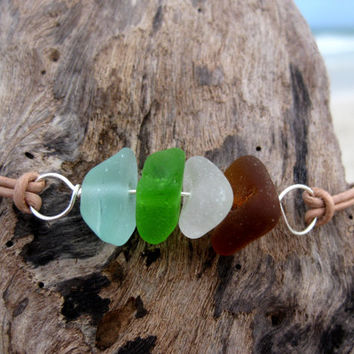 Hawaiian Aqua Blue, Lime Green, Amber Brown and Clear Beach Glass Silver Plated Wire Wrapped & India Leather Cord Bracelet