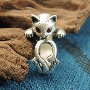 Chic Resizable Red Eye Cat Ring