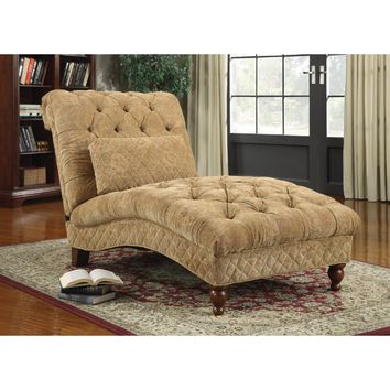 Traditional Tufted Upholstered Chaise Lounge Chair With Pillow, Gold By Coaster