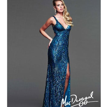 Mac Duggal 2014 Prom Dresses - Royal Sequin Cut Out Prom Gown
