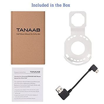 Wall Mount Stand Holder with Short Cable for Echo Dot 2nd Generation Speaker in Bathrooms Kitchens By TANAAB - White