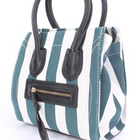 Blue White Striped Canvas Faux Leather Lining Handbag Purse