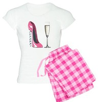 Corkscrew Pink Stiletto Shoe and Champagne Glass W on CafePress.com
