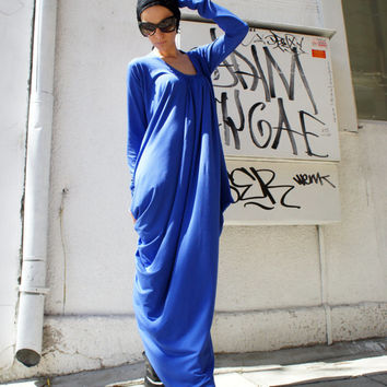 Royal Blue Asymmetric Kaftan / Maxi Dress / Loose Extra Long Sleeve Kaftan