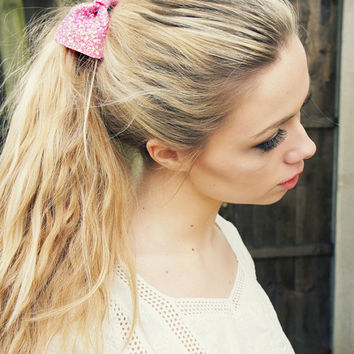 Small Glitter Hair Bow - Available in 30 Colours -  Glitter Bow Hair Tie  - Sparkly Bow - 'Rasberry' pink glitter hair scrunch/tie