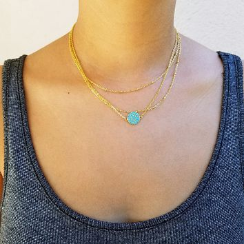 Layered Turquoise Plate Necklace