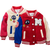 Baby Boy Winter Clothes Boys Jacket 2016 Letter Embroidered Boys Outwear Children Brand Kids Coats Boys Lambswool Baseball Warm