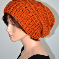 Crochet Ribbed Slouchy Beanie in Burnt Pumpkin Orange