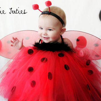 The Lady Bug Tutu Dress red and black dots with by KutieTuties