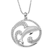 SOLID 925 STERLING SILVER HAWAIIAN DOLPHIN OCEAN WAVE CHARM PENDANT CZ RHODIUM