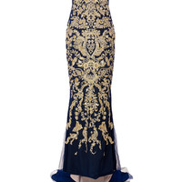 Marchesa - Embellished Silk Strapless Fishtail Gown