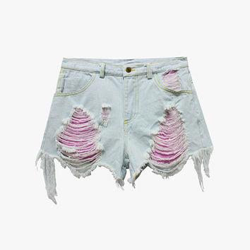 Crop Rip Denim Shorts