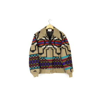 Vintage 80s Pendleton Southwestern Blanket Jacket / native american wool coat / navajo / bomber fit / unisex / southwest / small - medium