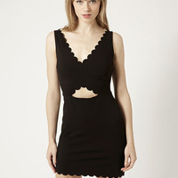 Black Lace Sleeveless V-neck Scalloped Cut-Out Bodycon Mini Dress