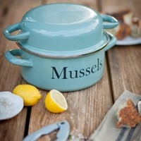 Blue Enamel Mussel Pot