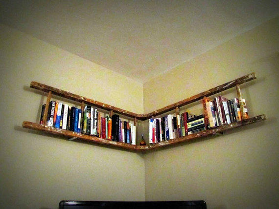 Antique Wooden Ladder Bookshelf by naturallycre8tive on Etsy